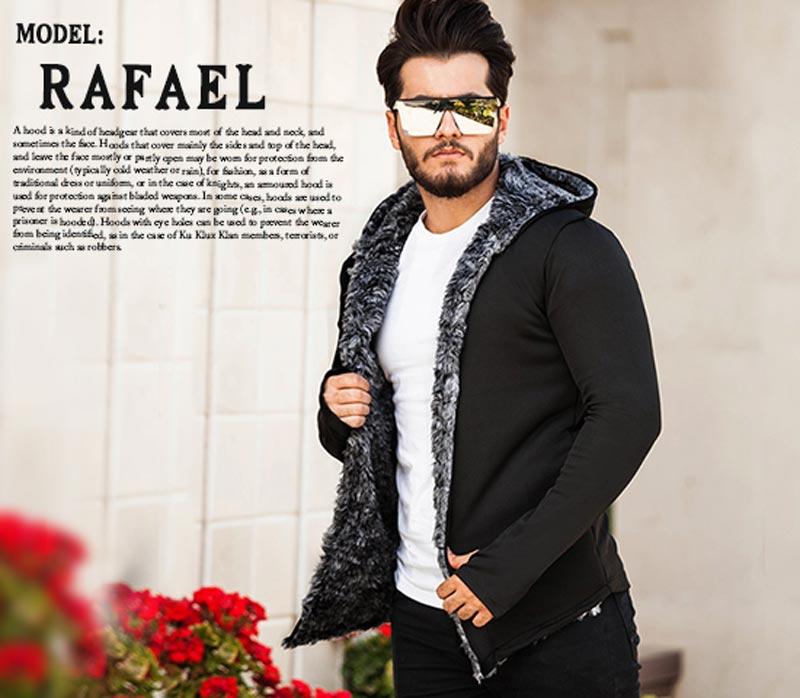 هودی خزدار مردانه  مدل  Rafael (مشکی)