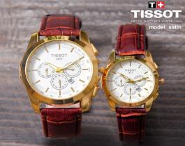 ست ساعت مچی Tissot مدل Satin(بند قهوه ای)